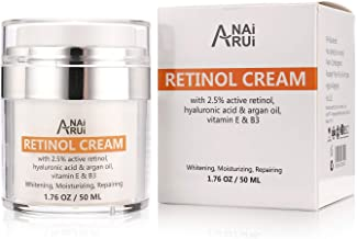 ANAIRUI 2.5% Active Retinol Moisturizer Cream for Face Anti Aging Rapid Wrinkle Repair Infused with Vitamin E, B3 & Hyaluronic Acid 1.76 Oz