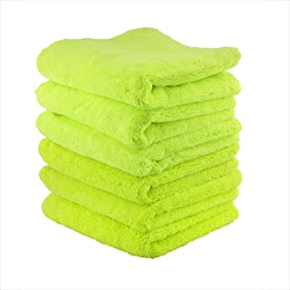 Chemical Guys MIC_333_6G El Gordo Professional Extra Thick Supra Microfiber Towels, Green (16.5 in. x 16.5 in.) (Pack of 6)