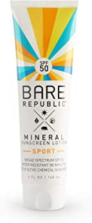 Bare Republic Mineral SPF 50 Sport Sunscreen Lotion. Natural Vanilla Coconut Scented Long-Lasting and 80 Minute Water-Resi...
