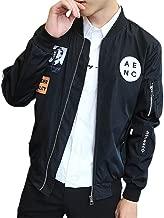 Brilliant sun Mens Casual Bomber Jacket Lightweight Breathable Coat Print Zipper Front
