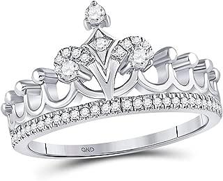 10k White Gold Womens Round Diamond Crown Tiara Fashion Ring 1/5 Cttw