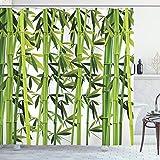 ABAKUHAUS Bambus Duschvorhang, Asian Frische grüne Pflanzen, Klare Farben aus Stoff inkl.12 Haken Farbfest Schimmel & Wasser Resistent, 175 x 200 cm, Grün-weiß