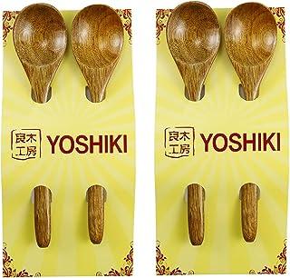 【天然素材】YOSHIKI良木工房 天然木製スプーン 4本セット カレースプーン スープスプーン レンゲスプーン お弁当 食堂用 安全性 YK-S4