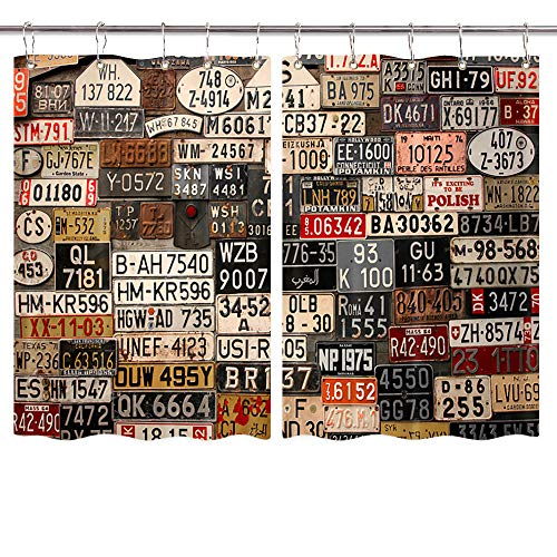 NYMB Vintage USA Art Window Curtains, Retro American Auto Car License Plates Window Drapes, Home Decor Draperies for Kitchen Bedroom Window Treatment with Hooks, 55X39inch, 2PC Panels