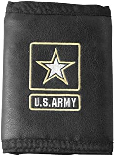 U.S. Army Logo Direct Embroidered on Ultra Leather Fabric Tri Fold Wallet