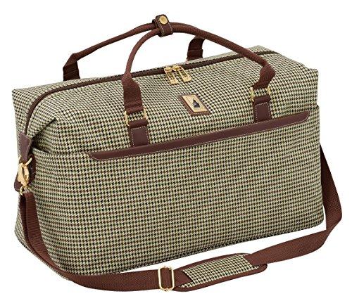 LONDON FOG Cambridge II 20-Inch Duffel Bag, Olive Houndstooth