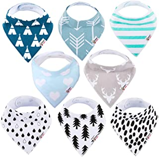 Baby Bandana Drool Bibs Organic 8 Pack for Boys and Girls 100% Absorbent Soft Cotton Bandana Baby Bibs for Teething Feeding Baby Shower Gift (BC073)