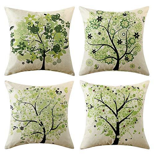 MIULEE Pack Von 4 Dekorative Bäumen Serie Grün Baum Kissenbezug Kissen Fällen Wurfkissen Einzigartiges Design Outdoor-Shell-Kissenbezug Für Sofa Couch Schlafzimmer 18X18 Inch