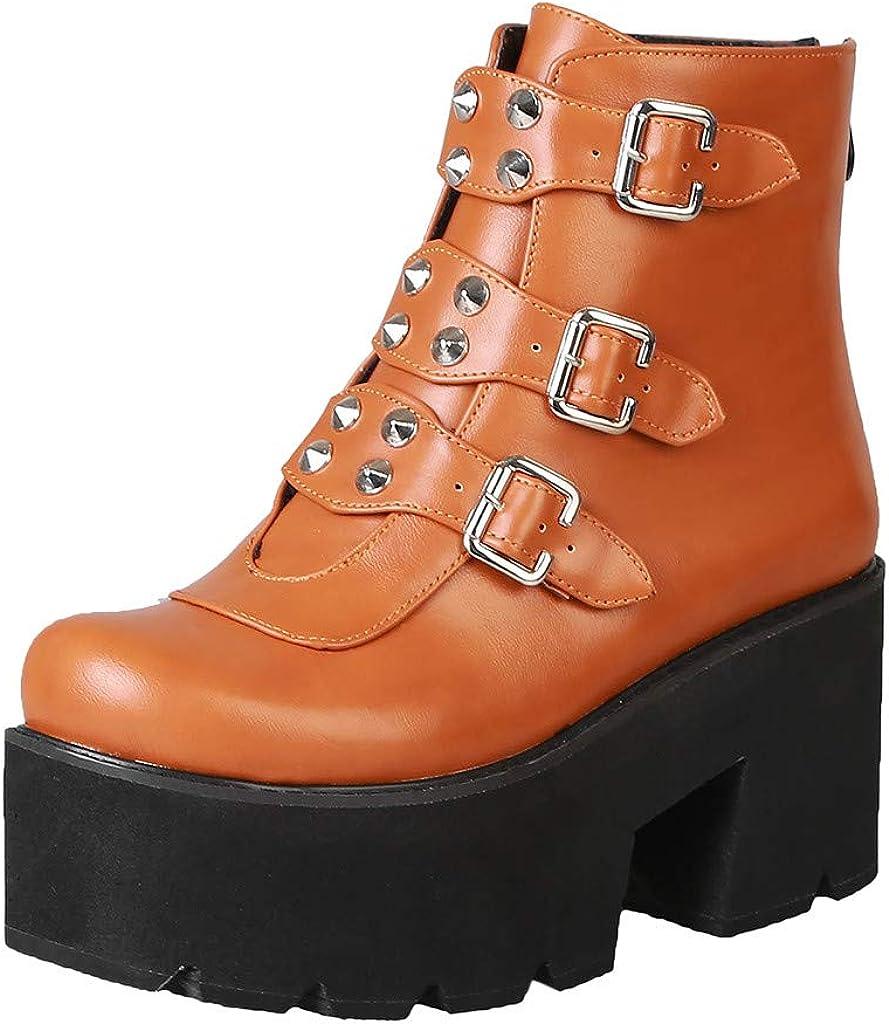 ZiSUGP Platform Boots For Women Fashion Belt Buckle Short Boots British Style High Heel Platform Round Toe Gothic Boots
