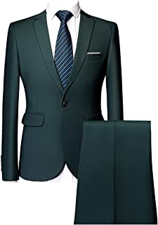 932b4b08e54fd0 UNINUKOO Mens Slim Fit 2 Piece Single Breasted Jacket Party Prom Tuxedo  Suits
