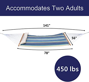 TOUCAN OUTDOOR Double Quilted Hammock, Large Heavy Duty Hammock with Spreader Bar, Extra Large Pillow, Blue Stripe