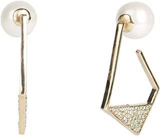 Carolee Women's Geometric Pave Hoop Earring