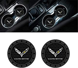 JDclubs 2.75 Inch Diameter Oval Tough Car Logo Vehicle Travel Auto Cup Holder Insert Coaster Can 2 Pcs Pack (fit Corvette)