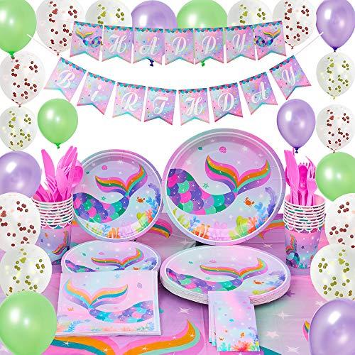 WERNNSAI Meerjungfrau Party Deko Kit - Sommer Pool Party zubehör für Mädchen Meerjungfrau Schein Geburtstag Banner Ballons Tischdecke Platten Tassen Servietten Geschirr Bedient 16 Gäste 153 Stücke