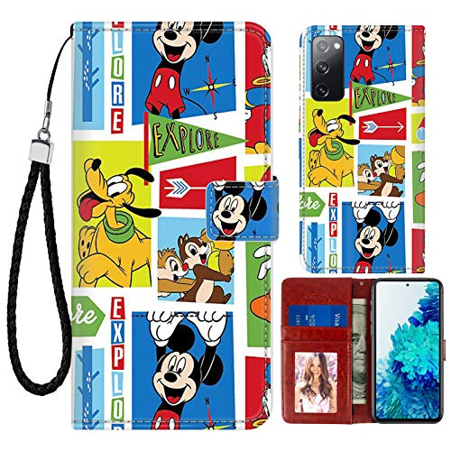 SAKUULO Cartoon Wallet Case for Samsung Galaxy S20 FE 5G Mickey Mouse Pluto Donald Duck Shock Absorption Leather Case Magnetic Closure Kickstand Folio Flip Cover with Credit Card Holder Wrist Strap