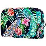 TIKISMILE - Bolsa de maquillaje grande con diseño de pavo real, bolsa de maquillaje portátil para mujeres y niñas