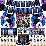 Black Panther Party Supplies, Black Panther Birthday Party Decorations, Include Black Panther Banner, Cupcake Toppers, Birthday Balloons, Invitation Cards, Stickers for Kids Birthday Party