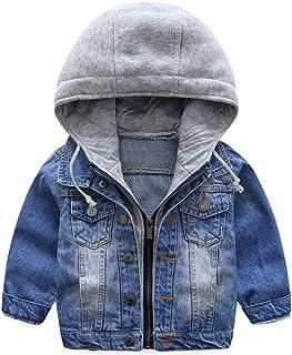 Garçons Capuche Veste en Jean Blouson Enfant Manteau Casual Manches Longues éclair Bleu Denim Haut Vêtements Printemps Aut...