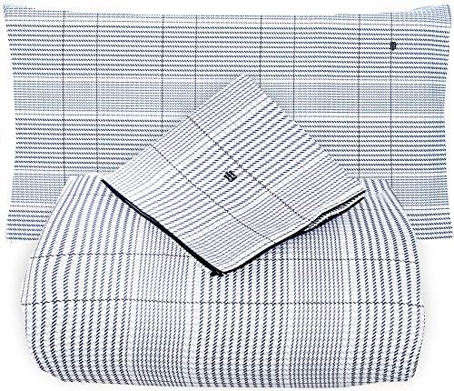 Tommy Hilfiger Urban Classic - Juego de funda nórdica para cama de matrimonio de 2 plazas, satén de puro algodón + 2 fundas de almohada sin sábana bajera