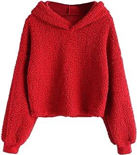 Women's Long Sleeve Hoodie Faux Fur Solid Color Crop Pullover Sweatshirt Tops