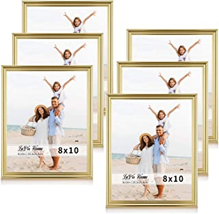 LaVie Home 8x10 Picture Frames(6 Pack, Gold) Single Photo Frame with High Definition Glass for Wall Mount & Table Top Display, Set of 6 Basic Collection