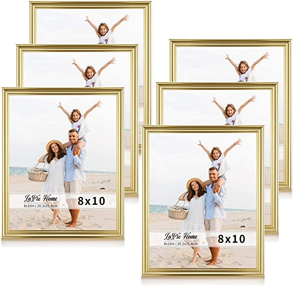 LaVie Home 8x10 Picture Frames 6 Pack Gold Single Photo Frame With High Definition Glass For Wall Mount Table Top Display Set Of 6 Basic Collection