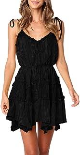 Bbalizko Womens Boho Spaghetti Strap Ruffle Dresses V Neck Swing Beach Short Dress