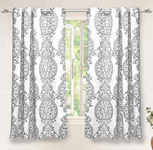 "DriftAway Samantha Thermal/Room Darkening Grommet Unlined Window Curtains, Floral/Damask Medallion pattern, Set of Two Panels, each (52""x63"",Gray)"