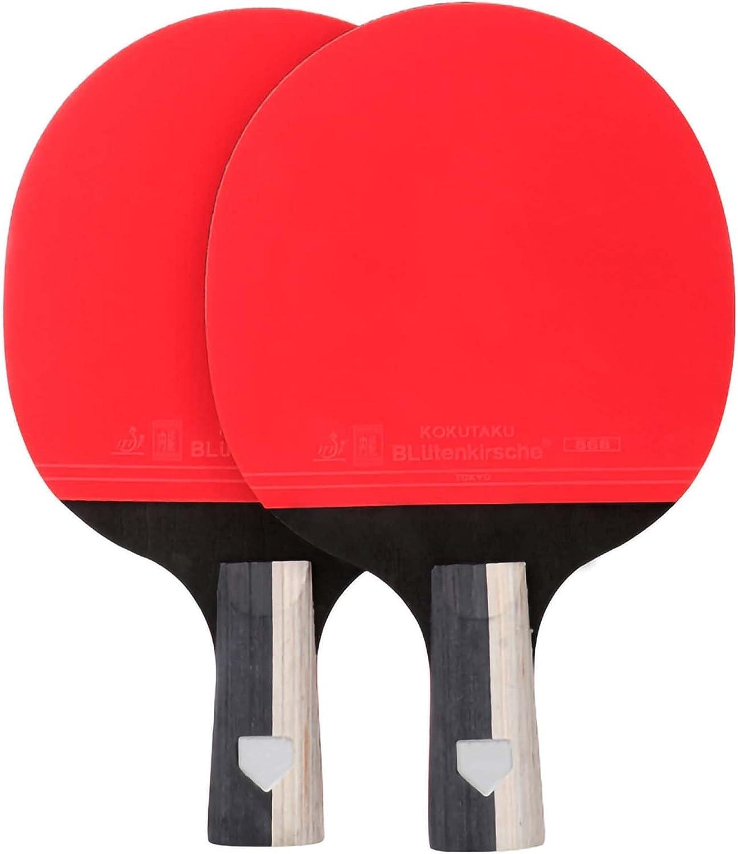 HXFENA Raqueta de Tenis de Mesa,Entrenamiento Profesional Bate de Tenis de Mesa Red Black Carbon King Estructura,Ofensiva Fuerte Excelente Control / 4 Star/A