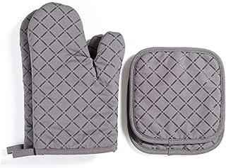Voarge Zestaw 4 rękawic kuchennych odpornych na wysoką temperaturę i garnki, silikonowe rękawice do grilla, piekarnika, szare