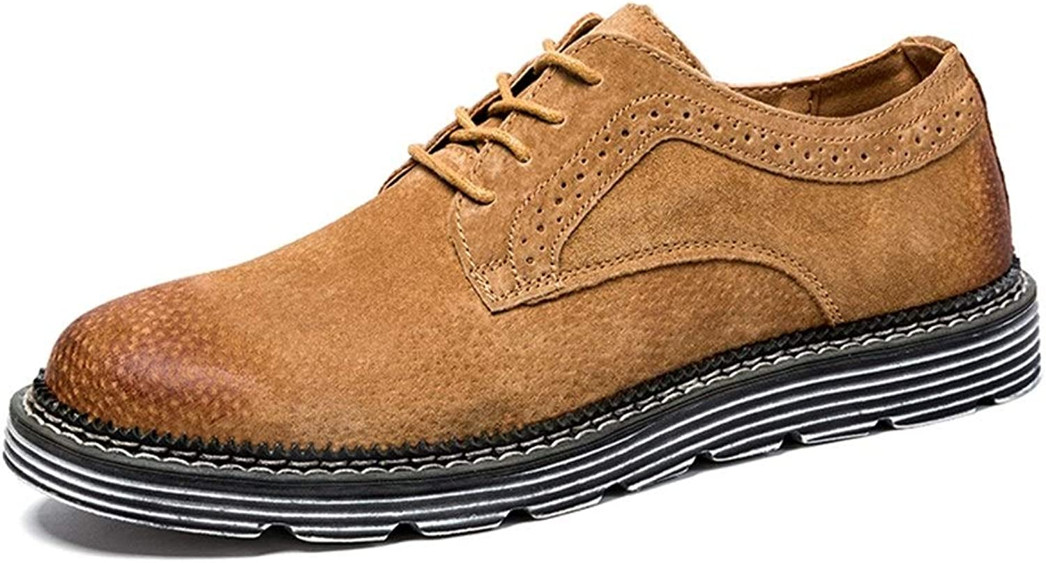 Mens shoes Work Boots for Men Genuine Leather Comfortable Breathable Business Fashion Loafers Low Top Anti-Slip Flat Lace Up Casual shoes