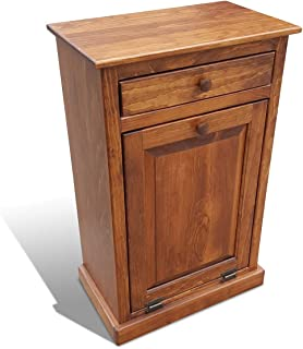 Peaceful Classics Wooden Pull Out Trash Can Cabinet, Handmade Solid Wood Hideaway Trash Holder (Cherry)