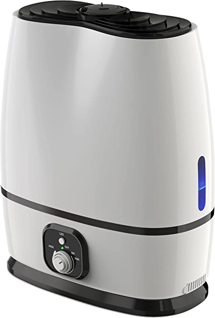 Everlasting Comfort Cool Mist Humidifier for Bedroom (6L) - Filterless, Quiet, Ultrasonic - Large Room Home Air Vaporizer with Diffuser and Essential Oil Tray (White)