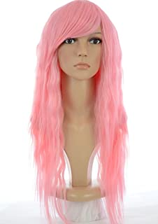 Nicki Minaj Style Long Pink Crimped Wig | Pink Wavy Rock Chick Wig | Contrast Straight Side Bangs