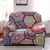 ASCV Elastische Sofabezug für Wohnzimmer 3D Ethnische Blume Mandala Böhmische Kissen Universal Sessel Möbelbezüge A2 3-Sitzer