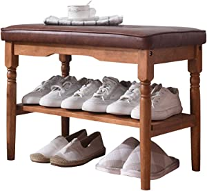 OGCAU Wood Shoe Rack Bench, 24-inch Accent Bench, with Cushion Upholstered Padded Bench, Vintage Storage Shelf, for Entryway Hallway Bathroom Living Room and Corridor (Brown)