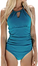 CUPSHE Women's Halter Lace Up Back One Piece Swimsuit Padded Crisscross Bikini