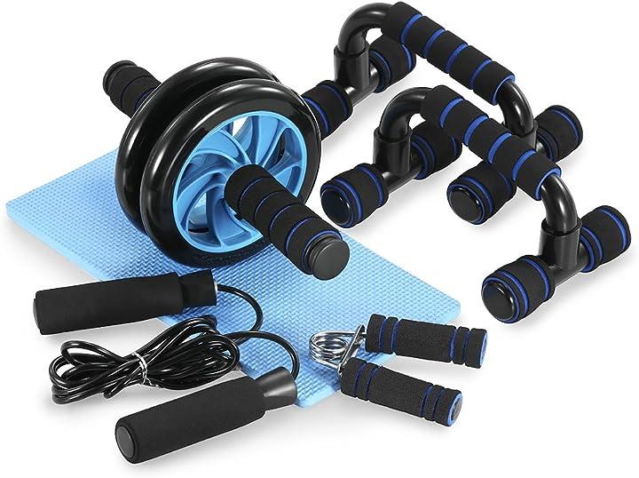 Set home gym tomshoo 5-in-1 , roller addominali, 2 maniglie flessioni, corda, tappetino e pinza mani NRG7439347994046FE
