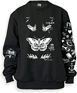 Women's Butterfly Tattoos Sweatshirt Sweater Jumper Pullover Black Shirt