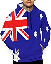 Bomini Flag of Australia Men's Hooded Sweatshirt 3D for Unisex Long Sleeve Pullover Outwear Pockets Drawstring Clothes