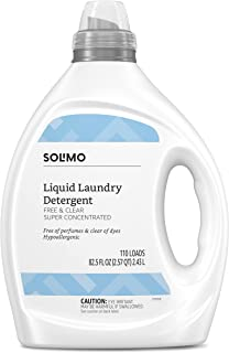 Solimo Amazon Brand Concentrated Liquid Laundry Detergent, Hypoallergenic, Free of Perfumes Clear of Dyes, 110 Loads, 82.5...