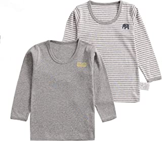 ALLAIBB 2 Pack Little Baby Kids Pajamas Long Sleeve Tees Top Unisex Cotton Print Outfit