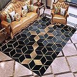 Tapis Design Moderne Rug Salon tradtionnel Carpet Cadre Diamant doré Noir Bleu 160 × 200cm