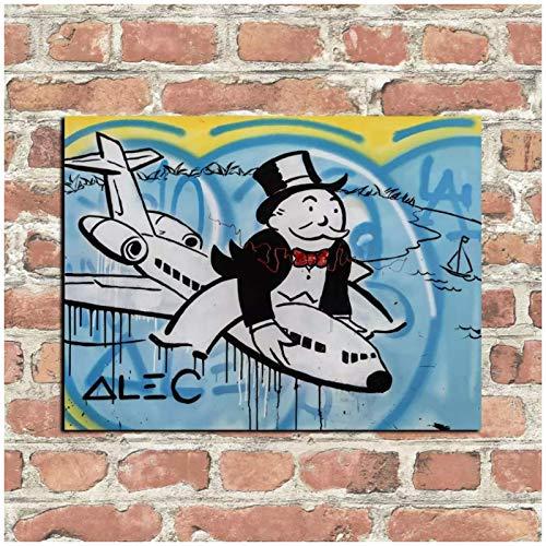 Mxibun Impresión Hd Alec Simpson Pintura Decoración Del Hogar Arte De Pared Sobre Lienzo Monopoly Air Plane Lienzo Decoración De La Habitación-60X80Cmx1 Sin Marco