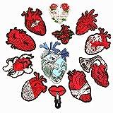 Parches para planchar/Patch Sticker, aplicado para la camiseta jeans Ropa Chaqueta Mochila Bolso y zapato, corazón de placa 12PCS