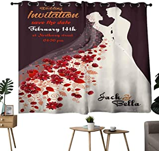 Mannwarehouse Thermal Curtains Floral Wedding Invitation Suitable for Bedroom Living Room Study, etc.63 Wx63 L