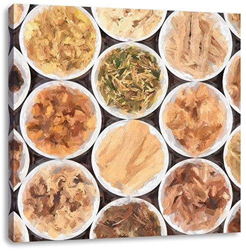 veel kruiden in gerechtenCanvas Foto Plein | Maat: 70x70 cm | Wanddecoraties | Kunstdruk | Volledig gemonteerd