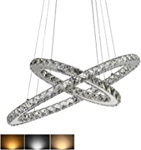 LED Pendant Lights, K9 Crystal Ring Chandelier Dimmable 3-Color, Adjustable 2-Ring Remote Control Ceiling Light Fixture(110-240V)