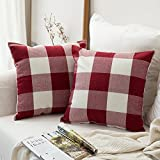 MIULEE Pack of 2 Classic Retro Checkers Plaids Cotton Linen Soft Soild Square Throw Pillow Covers Home Decor Cushion Case for Sofa Bedroom Car 20 x 20 Inch Red and White