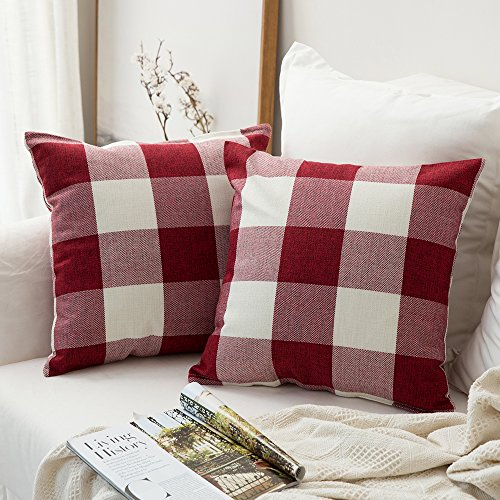 MIULEE Pack of 2 Classic Retro Checkers Plaids Cotton Linen Soft Soild Decorative Square Throw Pillow Covers Home Decor Design Set Cushion Case for Christmas Sofa Bedroom Car 18x18 Inch, White and Red